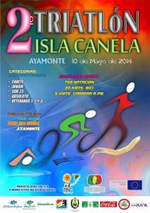 Cartel del II Triatlon Isla Canela.