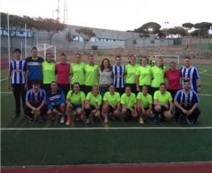 Fotografía conjunta del Recreativo IES La Orden y el Sporting Huelva.
