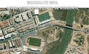 Instalaciones en Ayamonte para el Mundialito 2014.