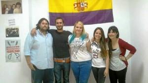 Algunos integrantes del Area de Juventud de IU en Aljaraque con Ana Delgado