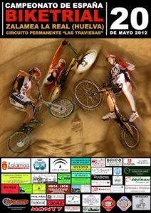Cartel del Campeonato de España de bike trial en Zalamea La Real.