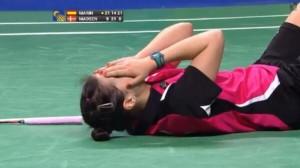 Carolina Marín, campeona de Europa de bádminton, llorando tras ganar el título.