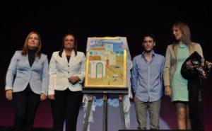 La Alcaldesa, Tte. Alcalde de Festejos, el autor del cartel y Pta. Asoc. Juan Bosco de Pozo del Camino (Copiar)
