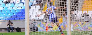 Juan Carlos, del Deportivo, celebrando el primer gol ante el Recreativo. (www.riazor.org)