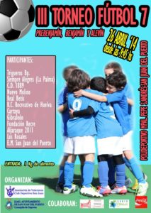 Cartel del torneo de fútbol base en San Juan del Puerto.