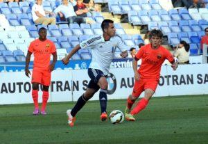 Jorge Larena, en el Colombino, ante el FC Barcelona. (Espínola)
