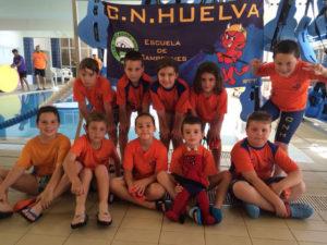 Benjamines del Club Natación Huelva.