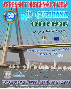 Cartel del ascenso y descenso del río Guadiana.