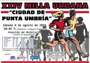Cartel de la XXIV Milla Urbana de Punta Umbría.
