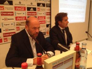 Pablo Comas, presidente del Recreativo de Huelva y Antonio Martín, portavoz del club.