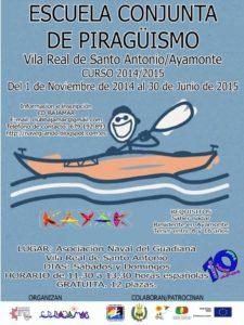 Cartel de la Escuela de piragüismo de Vila Real de Santo Antonio y Ayamonte.
