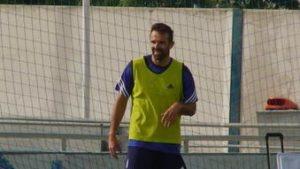 Carlos Marchena, entrenando con el Recreativo de Huelva.