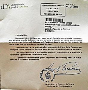 Respuesta Defensor Pueblo a PSOE Palos