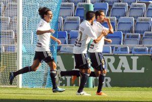 Montoro, Jesús Vázquez y Pedro Ríos, celebrando un gol. (Espínola)