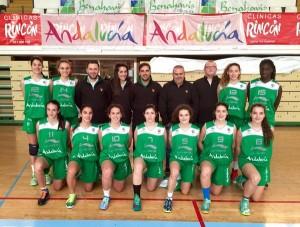 Andrea Alcántara y Ainhoa Lacorzana con la Selección Española cadete.