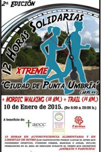 Cartel de las 12 horas solidarias en Punta Umbría.