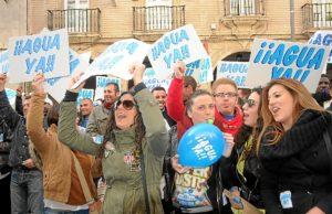 Imagen de archivo de la protesta en Huelva exigiendo agua ya para El Condado de Huelva.