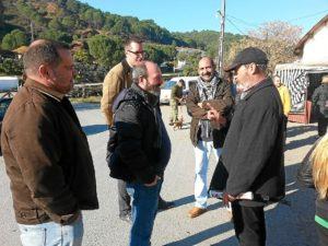 Imagen de archivo de la visita de responsables de IU a la acampada de Sotiel Coronada.