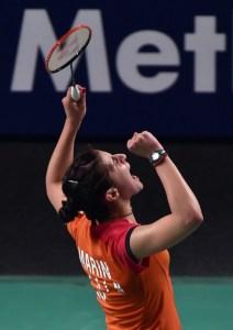 Carolina Marín celebrando el triunfo en Australia.