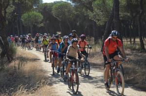 Salida escolar en bici por los carriles de Punta Umbría.