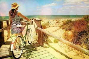 Playa bicicleta en pasarela