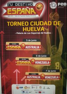 Cartel del Torneo Internacional de baloncesto femenino en Huelva.