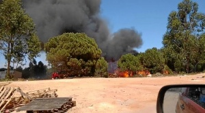 Incendio en un asentamiento en Palos de la Frontera.
