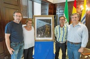 La Alcaldesa, el Primer Teniente de Alcalde, el Hermano Mayor y le autor del Cartel junto a la obra