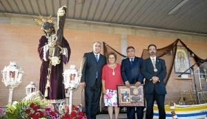 La Alcaldesa junto al Patron Mayor, el Presidente de los Armadores y el Hermano Mayor de la Hermandad