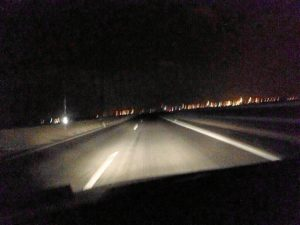 Imagen nocturna del puente del Odiel.