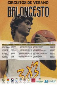 Cartel del Circuito tres por tres de baloncesto.
