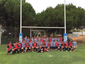 Equipos sub 18 del Huelva Unión Rugby y el Glasgow Academy.