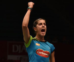 Imagen de archivo en la que Carolina Marín celebra su pase a semifinales del Mundial.