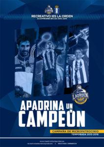 Cartel de la campaña 'Apadrina un campeón' del Recreativo IES La Orden.