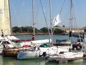 Trebolísimo II, amarrado en su pantalán en Punta Umbría.