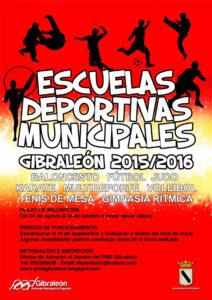 Cartel de las Escuelas Deportivas Municipales en Gibraleón.