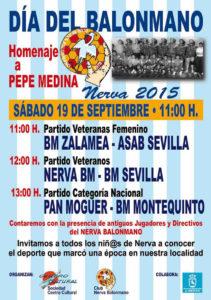 Cartel del homenaje de balonmano en Nerva.