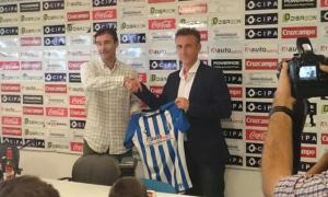 Alejandro Ceballos, nuevo entrenador del Recreativo de Huelva, junto a Manolo Toledano.