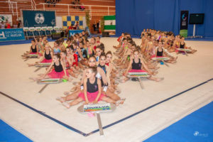 Competición de gimnasia rítmica.