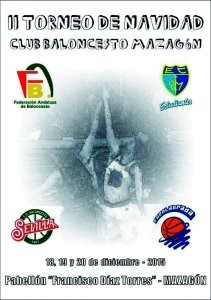 Cartel del torneo de cantera de baloncesto en Mazagón.