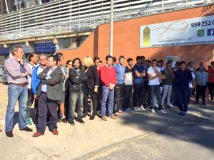 Imagen de archivo de un paro de los trabajadores y plantilla del Recreativo de Huelva.