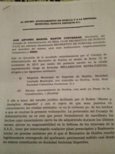 Documento de petición del Recreativo de Huelva al Ayuntamiento de 16'5 millones de euros.