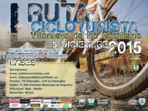 Cartel de la Ruta de Cicloturismo en Villanueva de los Castillejos.