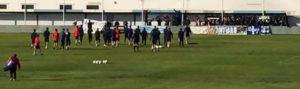 Imagen de archivo de aficionados del Recreativo de Huelva animando a la plantilla en la Ciudad Deportiva.