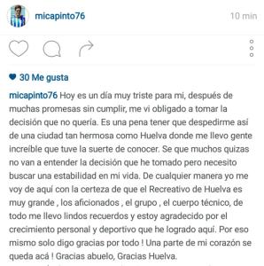 Despedida de Mica Pinto del Recreativo de Huelva.