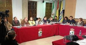 Uno de los concejales andalucistas con la camiseta de apoyo a los afectados por el ERE