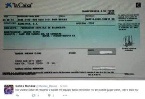 Transferencia de la Federación Española a una cuenta de la jugadora del CB Conquero, Adaora Elonu.