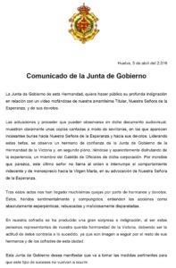 Comunicado de la Hermandad de la Esperanza publicado en su página web.