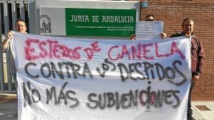protesta trabajadores esteros de canela
