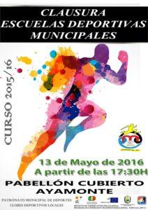Cartel de clausura de las Escuelas Deportivas Municipales de Ayamonte.
